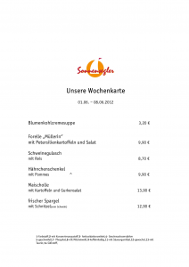 Wochenkarte Restaurant Sonnensegler